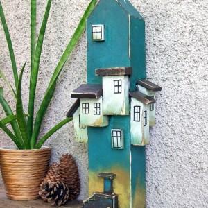 Belka dekoracyjna, z domkami, turkusowa