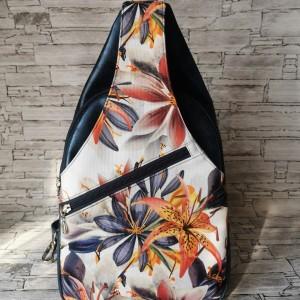 Plecak dwukomorowy ekoskóra handmade na jedno ramię granat kwiaty