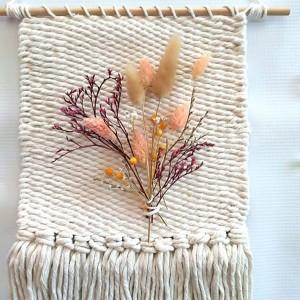 Makatka makrama suszone kwiaty romantyczna