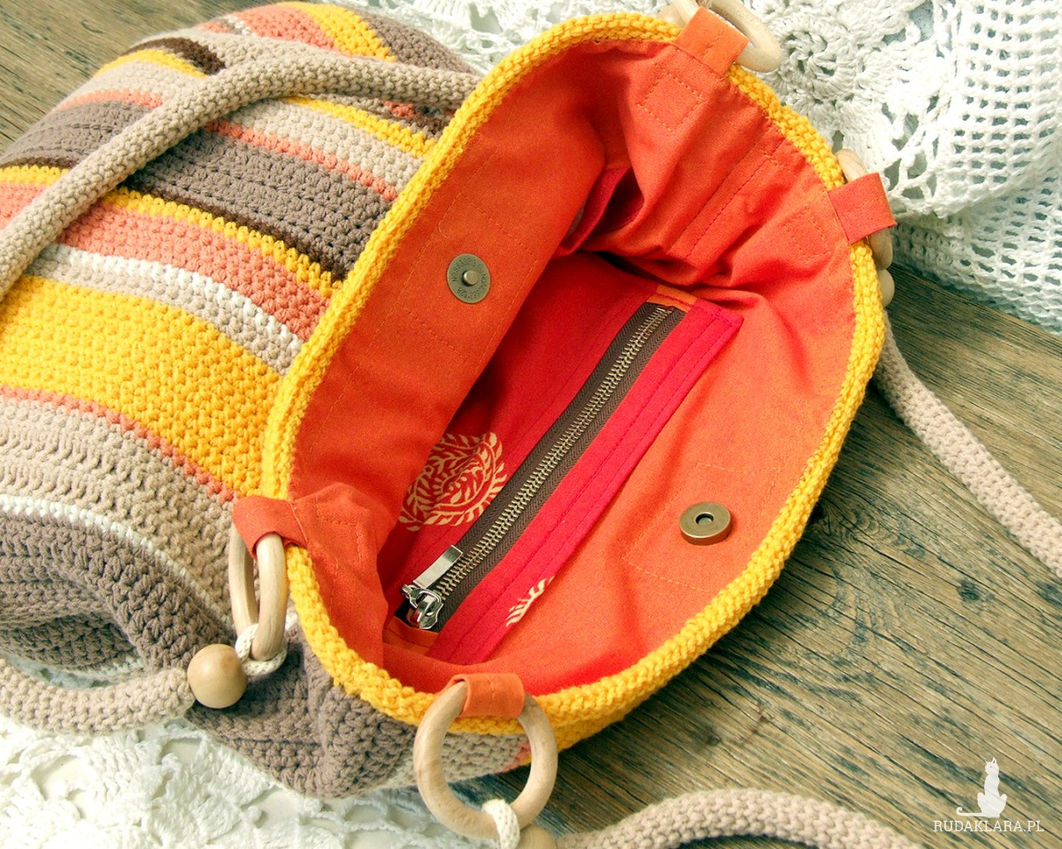 Duża, szydełkowa torba na ramię -  Kolory Lata