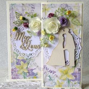Kwiatowa kartka ślubna w pudełku