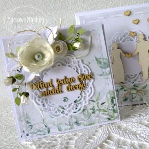 Komplet ślubny zielony, kartka z pudełkiem