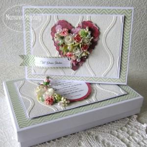 Romantyczne Serce, duża kartka ślubna w pudełku