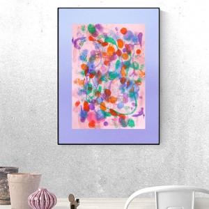 kolorowa  abstrakcja do loftu, nowoczesna dekoracja na ścianę, abstrakcyjna grafika do pokoju