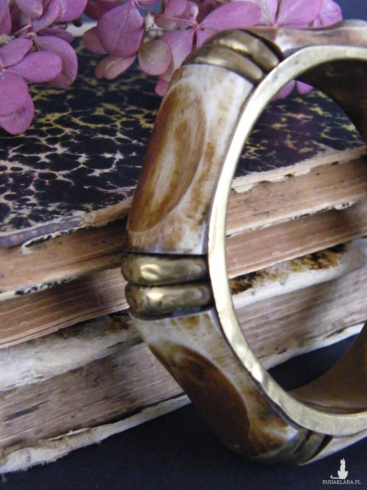 Szeroka bransoletka kanciasta mosiądz róg bawoli
