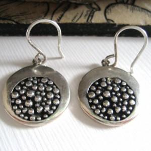 Kolczyki koła z fakturą, srebrne