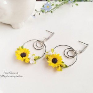 Kolczyki koła z kwiatami słonecznika