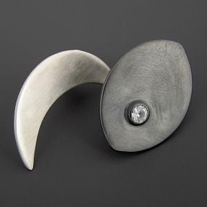 Księżyc i gwiazdy, asymetryczne kolczyki, srebro 925, cyrkonia