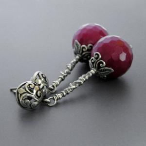 Anna Karenina – kolczyki z jadeitami wiśniowymi, srebro