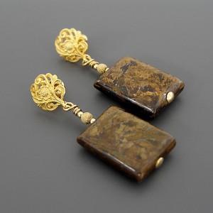 Anna Karenina – Kolczyki w odcieniach brązu i złota, srebro pozłacane