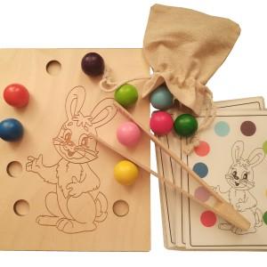 Układanka lewopółkulowa sorter Sprytny Zajączek Montessori