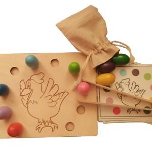 Układanka lewopółkulowa sorter Kurka Stefcia Montessori