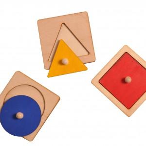 Układanka koło, kwadrat, trójkąt Montessori