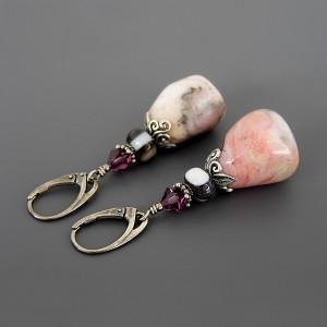 Anna Karenina – kolczyki różowymi opalami i agatami, srebro 925