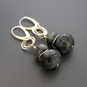 Nowoczesne kolczyki z larvikitami, srebro 925