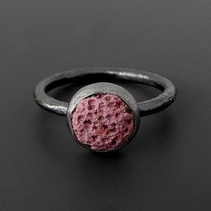 Różowa lawa - delikatny pierścionek, srebro 925, rozmiar 14 - 17