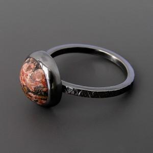Leopard - delikatny pierścionek z jaspisem, srebro 925, rozmiar 18-20