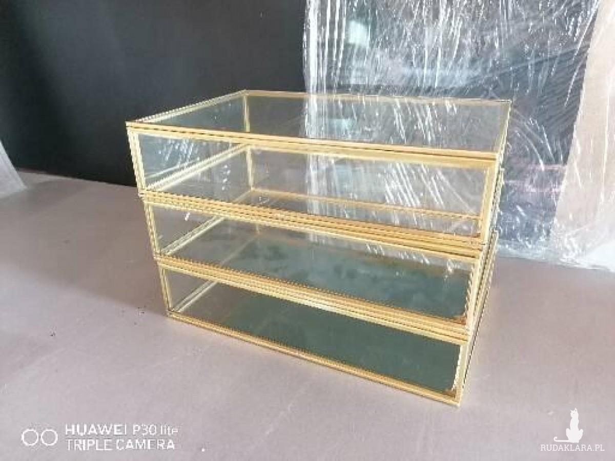 Pudełko szklane złote szkatułka organizer mosiężne hurt