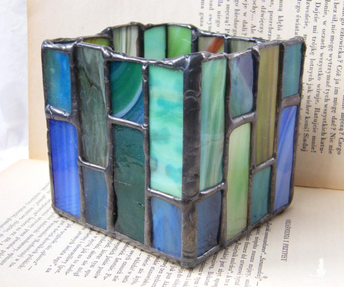 Nowoczesny świecznik witrażowy w stylu art deco, zielono - niebieski