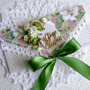Kartka ślubna kopertówka z zielenią