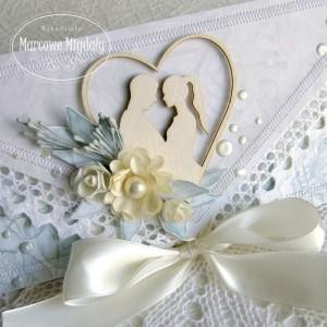 Pastelowa kartka ślubna kopertówka