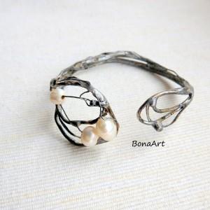 Bransoletka biżuteria autorska, wkładana, sztywna