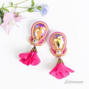 Różowe kolczyki sutasz Fuksja w Deszczu