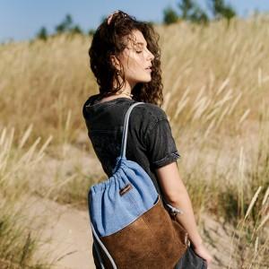Niebieski plecak worek z kieszeniami