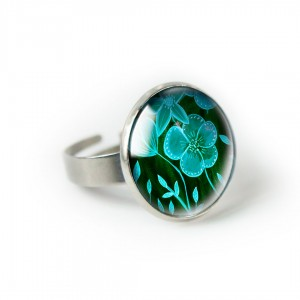 Green flower pierścionek