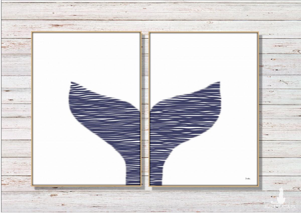 Grafika autorska, marynistyczna, zestaw 2 sztuki, ogon wieloryba, minimalistyczna, prosta, nowoczesna