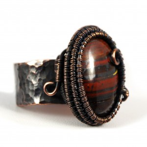 Kwarc, Miedziany pierścionek z tygrysim okiem, ręcznie wykonany, prezent dla niej prezent dla mamy, prezent urodzinowy biżuteria autorska