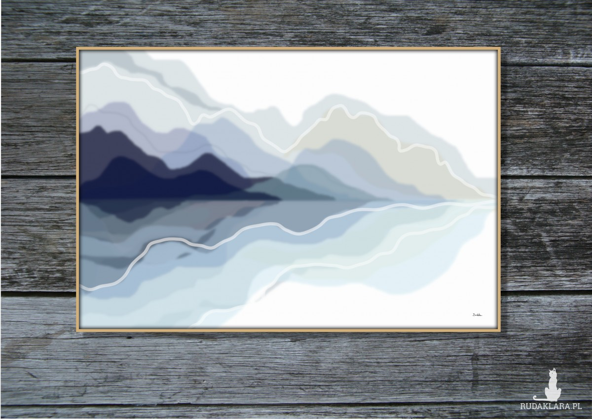 Grafika autorska, odbicie lustrzane, rozmyty pejzaż, abstrakcja