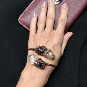 bransoletka z kryształem górskim i czarnym turmalinem patyna