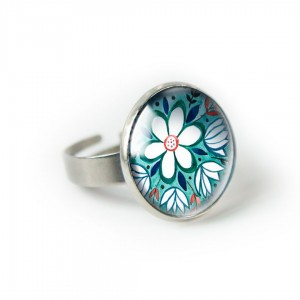 Green folk pierścionek