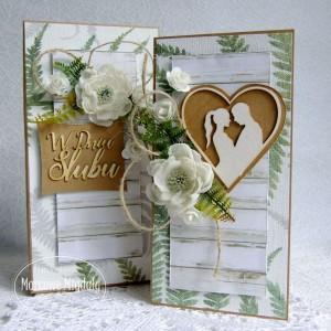 Leśna kartka ślubna w pudełku, rustykalna