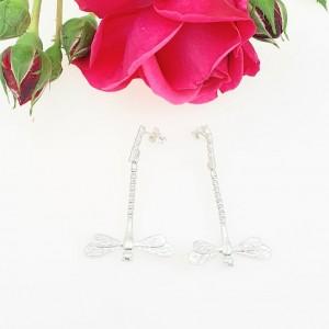 Kolczyki srebrne - Ważki W3 białe