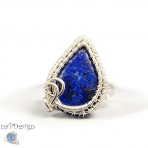 Lapis lazuli, Srebrny pierścionek z lapisem, ręcznie wykonany, prezent dla niej, prezent dla mamy, prezent urodzinowy, biżuteria autorska