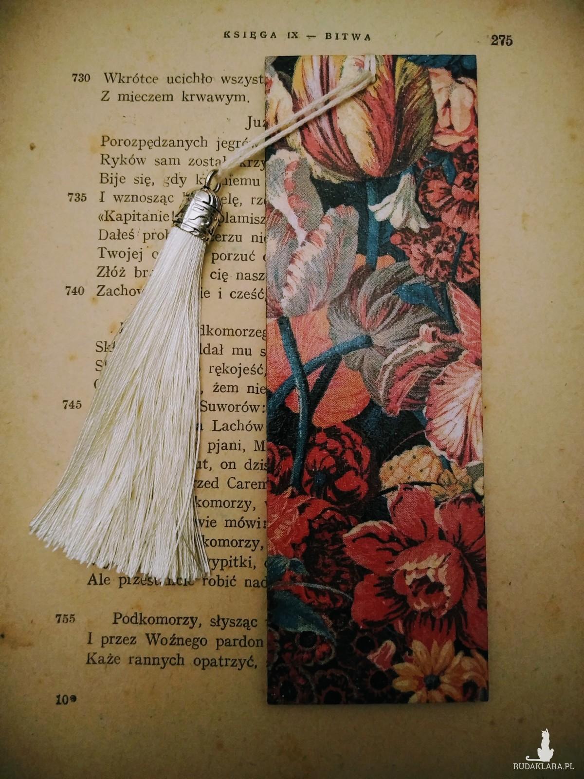 Zakładka do książki kolaż kwiatowy