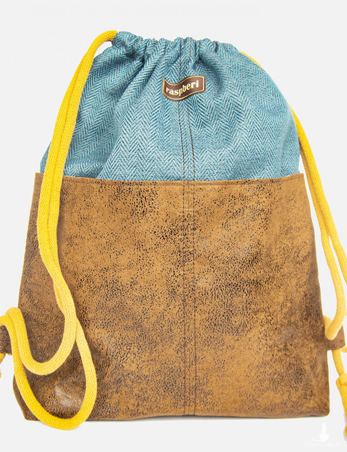 Turkusowy plecak worek z kieszeniami