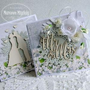 Komplet ślubny Pocałunek, kartka z pudełkiem