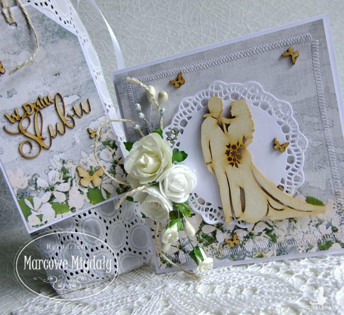 Komplet ślubny z motylami, kartka w pudełku i torebka na alkohol