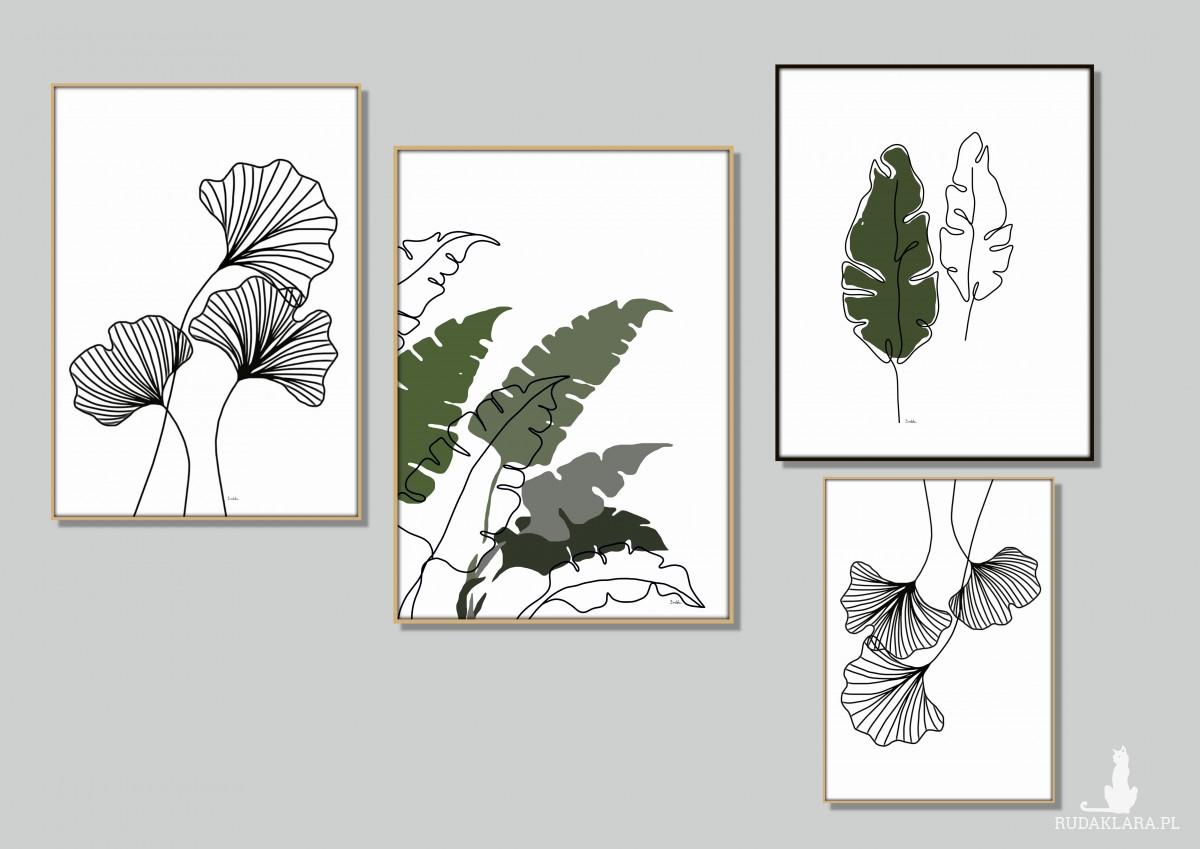 Grafika autorska, komplet 2 sztuki, liście miłorzębu