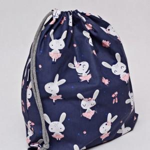 Worek na buty worek na kapcie do przedszkola do szkoły worek szkolny na ubrania króliczki jasne