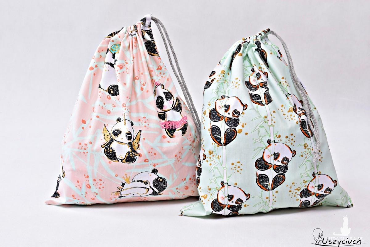 Worek na buty worek na kapcie do przedszkola do szkoły worek szkolny na ubrania misie pandy