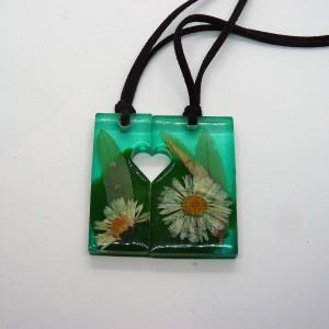 Kwiaty w Żywicy - podwójny Wisiorek Żywica