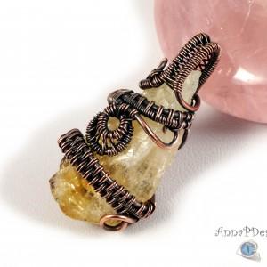 Cytryn Miedziany wisior z surową bryłką cytrynu prezent dla niej, prezent dla żony, prezent dla mamy, ręcznie robiona biżuteria wire wrapped