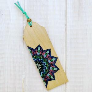 Drewniana zakładka z mandalą seria color v4