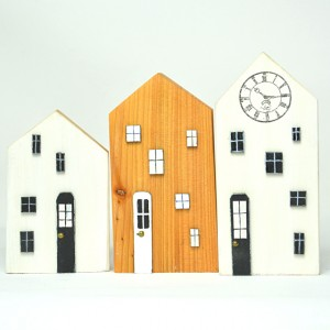 Drewniane domki dekoracyjne - zestaw 1