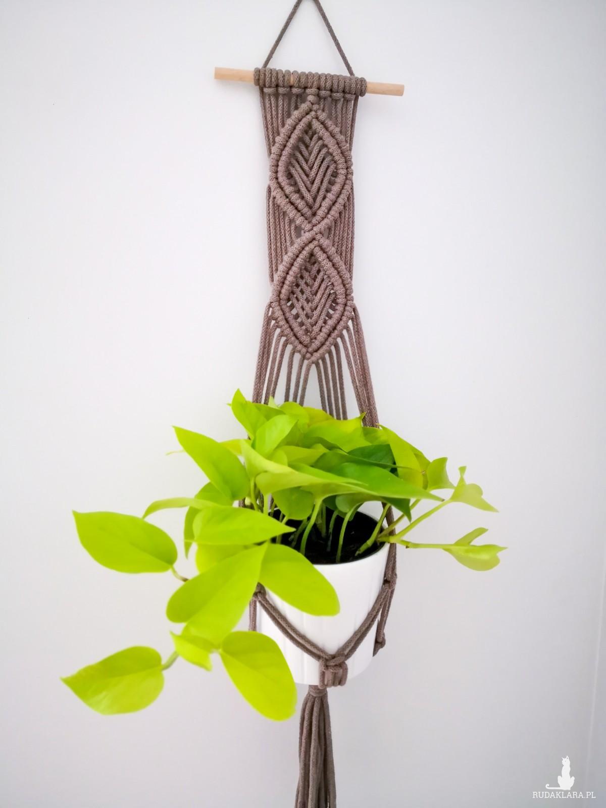 Makrama kwietnik wiszący ścienny Leaf brązowy