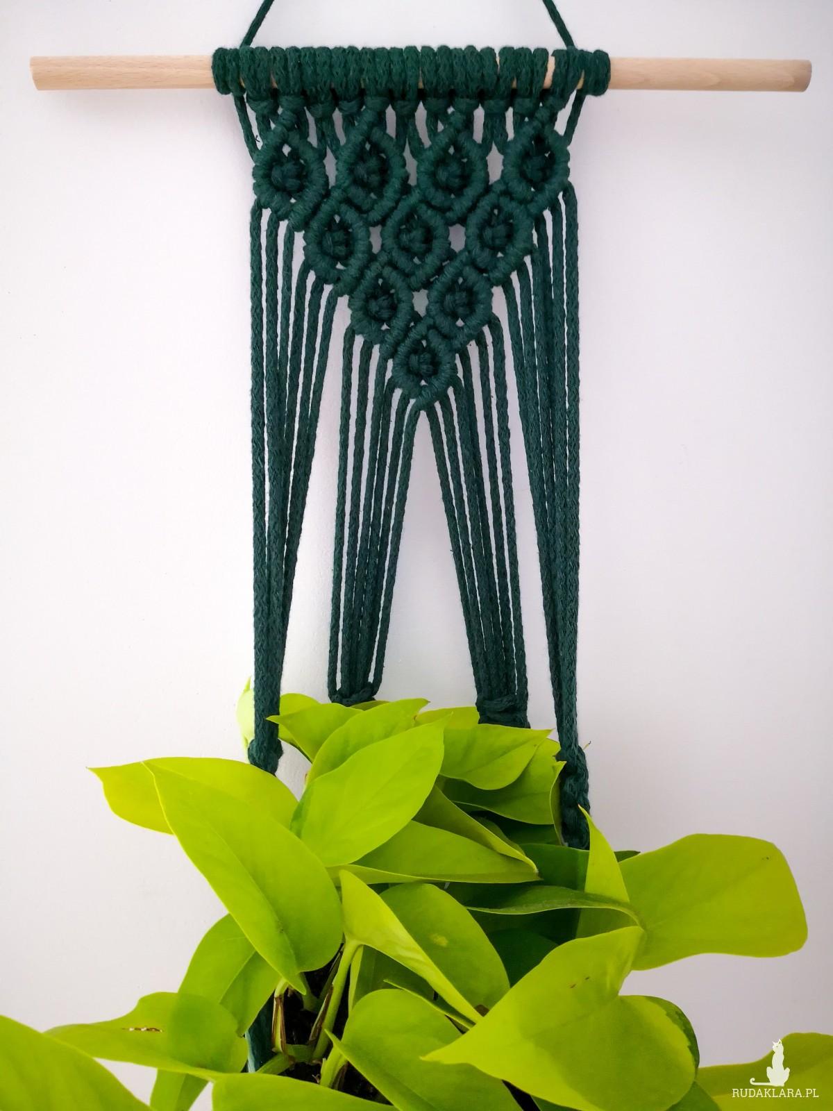 Kwietnik makrama wiszący Diamond butelkowa zieleń